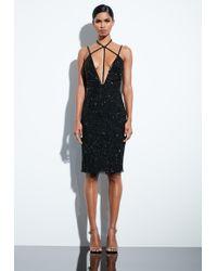 Missguided - Peace + Love Black Detail Embellished Midi Dress - Lyst
