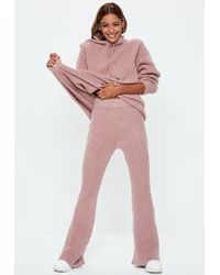 Missguided - Pink Ribbed Knitted Co Ord Pants - Lyst