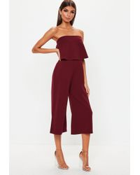 41c3136c65e4 Missguided - Burgundy Double Layer Culotte Jumpsuit - Lyst