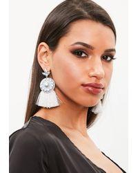 Missguided - Silver Drop Tassel Earrings - Lyst