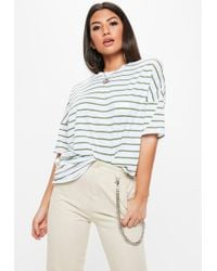d24ed216c1e6d9 Lyst - Missguided Navy Oversized Stripe Crop T Shirt in Blue