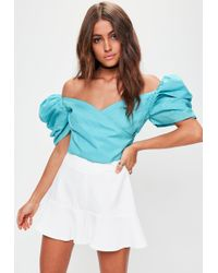 Missguided - Blue Puff Sleeve Pleated Crop Top - Lyst