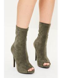 Missguided - Khaki Faux Suede Peep Toe Platform Boots - Lyst