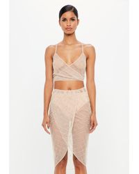 Missguided - Peace + Love Nude Diamond Embellished Crop Top - Lyst