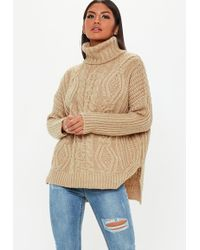 Missguided - Brown Oversized Roll Neck Cable Knitted Jumper - Lyst