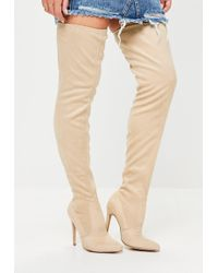 5141bc1cdf5 Lyst - Missguided Cream Neoprene Over The Knee Boots in Natural