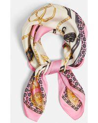 Missguided - Pink Chain Print Silk Feel Scarf - Lyst