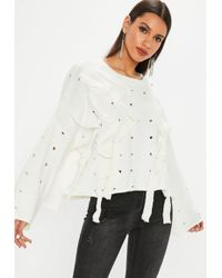 Missguided - White Distressed Lace Up Jumper - Lyst