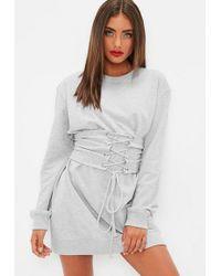 Missguided - Grey Corset Jumper Dress - Lyst