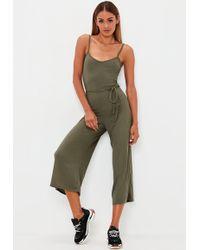 4685561e47b Missguided Khaki Bardot Skinny Leg Jumpsuit - Lyst