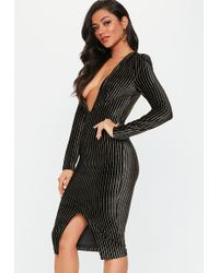 Missguided - Black Metallic Stripe Plunge Dress - Lyst
