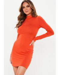 859599425d Lyst - Missguided Orange 90s Neck Bodycon Dress in Orange