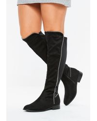 bda815d60e7 Missguided - Black Faux Suede Ball Trim Knee High Boots - Lyst