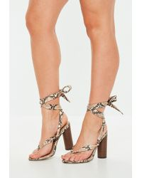 a3894cd1ba2 Lyst - Missguided Grey Gladiator Studded Block Heel Sandals in Gray