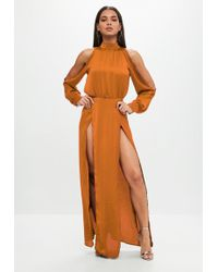 Missguided - Rust Split Front Satin Maxi Dress - Lyst