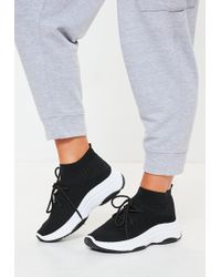 Missguided - Black Knitted Lace Up Sock Trainers - Lyst