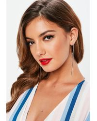 Missguided - Silver Diamante Strip Circle Detail Earrings - Lyst