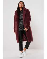 Missguided Wine Teddy Borg Oversized Coat - Red