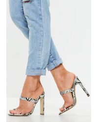 Missguided - White Snake Print Toe Post Barely There Mules - Lyst