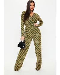 069c2820bdb Missguided Green 90s Neck Wide Leg Jumpsuit in Green - Lyst