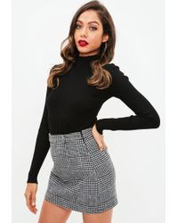 Missguided - Grey Brushed Dogtooth Mini Skirt - Lyst