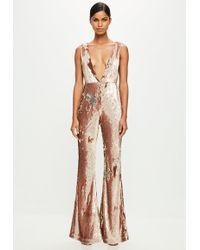 Missguided - Peace + Love Gold Sequin Jumpsuit - Lyst