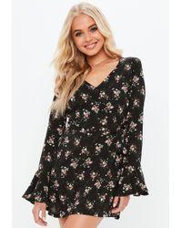 Missguided Black Floral Print Long Sleeve Tie Tea Dress in Black - Lyst 9af89b482