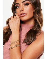 Missguided - Gold Look 3 Pack Chain Bracelets - Lyst