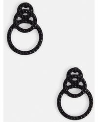 Missguided - Black Small Linked Earrings - Lyst