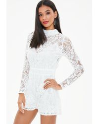 Missguided - White Corded Lace Long Sleeve Playsuit - Lyst