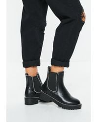 Missguided - Black Pu Silver Trim Chunky Ankle Boots - Lyst