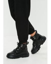 Missguided - Black Double Sole Hiking Strap Trainers - Lyst