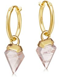 Missoma - Rose Quartz Mini Shield Hinged Hoops - Lyst