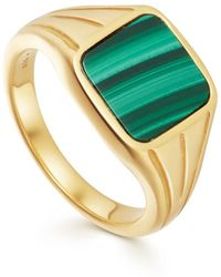 Missoma - Lucy Williams Square Malachite Signet Ring - Lyst