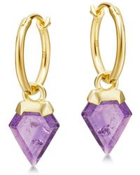 Missoma | Amethyst Mini Shield Hinged Hoops | Lyst
