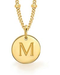 Missoma - Ladies Gold Initial M Pendant With Beaded Chain - Lyst