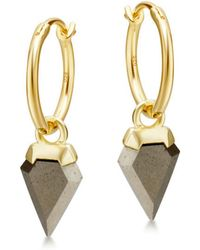 Missoma | Pyrite Mini Shield Hinged Hoops | Lyst