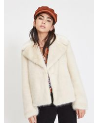 Miss Selfridge - Petite Cream Blonde Short Faux Fur Coat - Lyst