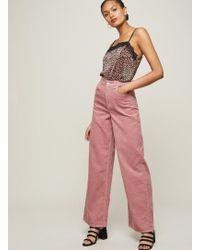 Miss Selfridge - Wide Leg Pink Corduroy Jeans - Lyst