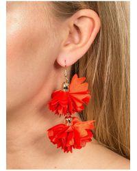 Miss Selfridge - Red Flower Fabric Earrings - Lyst