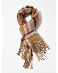 Miss Selfridge - Camel Checked Scarf - Lyst