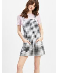 038cac1455 Miss Selfridge - Black Gingham Print Denim Pinafore Dress - Lyst
