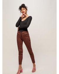 Miss Selfridge - Lizzie High Waist Skinny Fit Tan Animal Print Jeans - Lyst