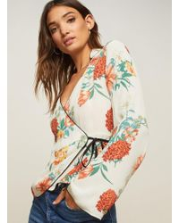 Miss Selfridge - Floral Print Pyjama Wrap Top - Lyst