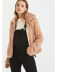 Miss Selfridge - Pink Teddy Coat - Lyst