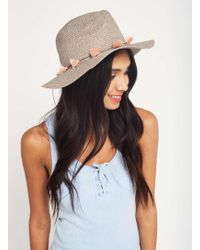 Miss Selfridge - Grey Pretty Straw Fedora Hat - Lyst