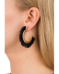 Miss Selfridge - Black Fringe Hoop Earrings - Lyst