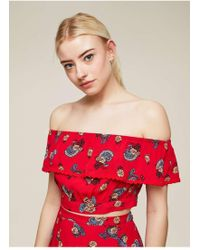 e4780f896f123 Lyst - Miss Selfridge Red Floral Print Shirred Bardot Crop Top in Red