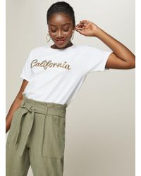 Miss Selfridge - California Embroidered T-shirt - Lyst