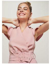 Miss Selfridge - Petite Pink Belted Playsuit - Lyst
